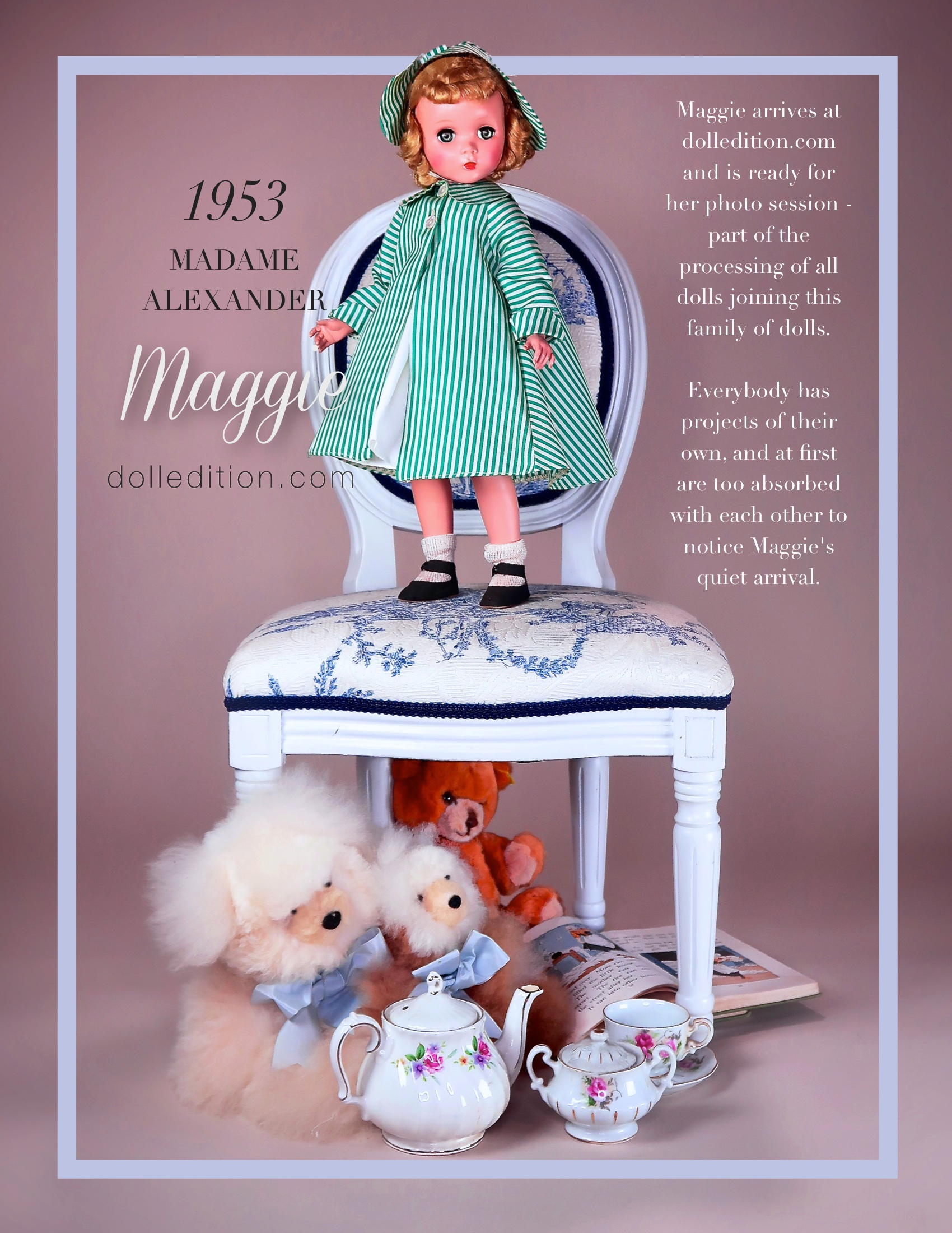 18 inch Maggie, wearing a 1953 green and white striped No. 211 raincoat and hat of waterproof taffeta over a white summer dress.