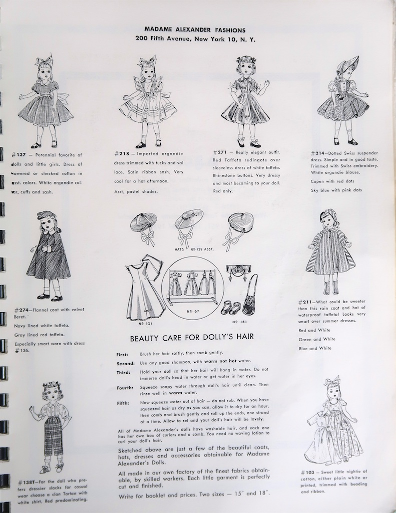 "!953 extra clothing from the Alexander Doll Company Catalog. Available in two sizes - 15"" and 18""."