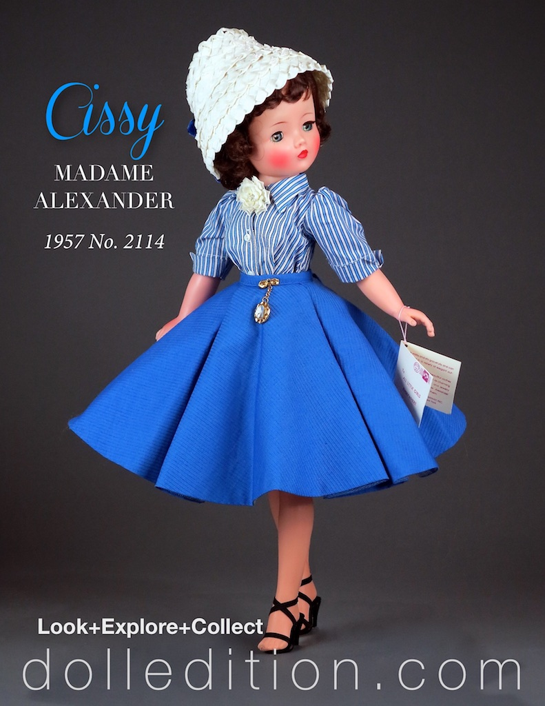 "The No. 2114 was available in both lavender and in blue. Another interesting detail of this doll is that the ""Cissy"" wrist tag changed from the rectangular tag of 1955 thru mid 1957, to the square wrist tag this doll has."
