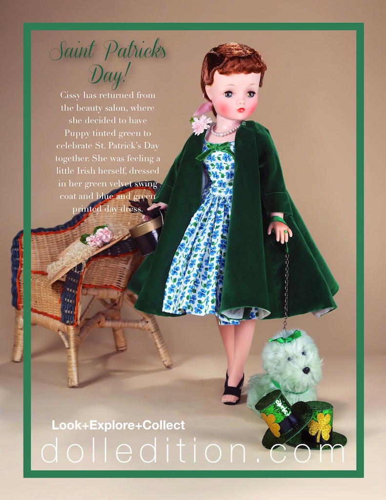 """Cissy"" is wearing green to celebrate, but it was not always the color of choice. Originally, blue was the color of the holiday. By the seventeenth century, green started appearing, and in the eighteenth century, the Irish military started wearing green uniforms on March 17 to make a political statement. In Ireland, some adhere to the tradition of Catholics wearing green and Protestants wearing orange. Pantone's green PMS 347 is the official color match."