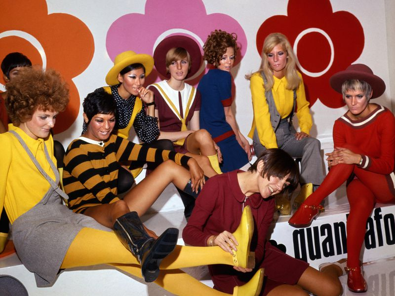 Mary Quant and models at the launch of the quantafoot collection, 1967