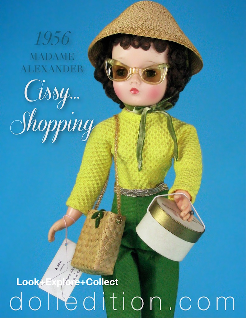 """Cissy Shopping,"" 1956 came with a straw shoulder bag, sunglasses, a pagoda-style straw hat with a coordinating green velvet tie and a hat box. A wonderful melody of color and texture, ""Cissy"" wears a lemon yellow waffle weave cotton long sleeve top and olive green ribbed cotton pants with snaps on the (left) side. The colors were transferred from a trendy color combination coming from Scandinavian design that was becoming very popular."
