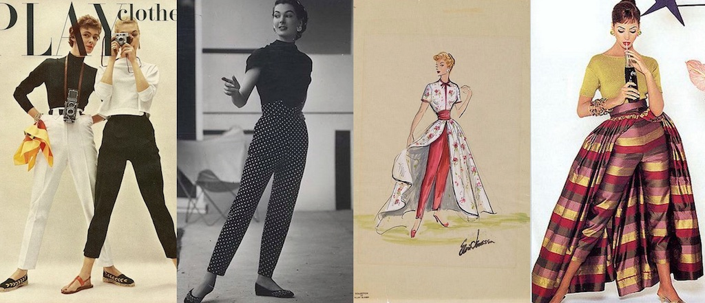 Left to Right: Cigarette pants with a tailored, slim silhouette. A cigarette pant with v-notch detail in the band. Costume design for Lucile Ball with cigarette pants and overskirt. A capris pant variation of the same model.