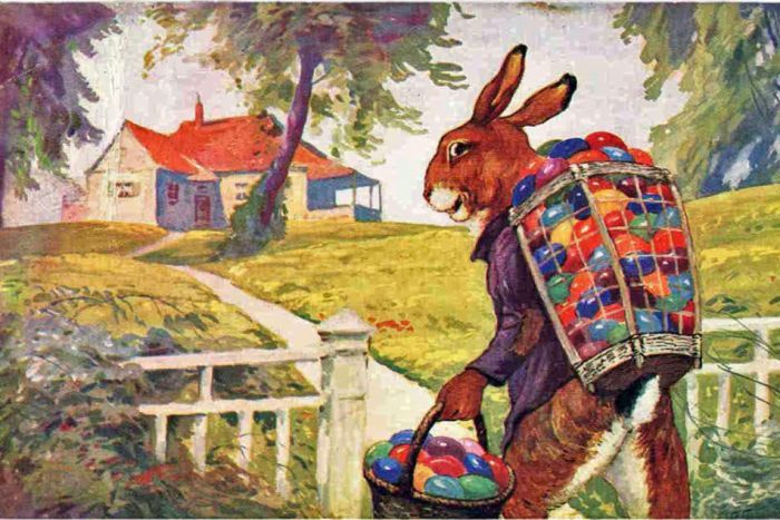 "Early European artwork is showing the ""Easter Hare"" arriving with colorful Easter eggs to hide for well-behaved children to find."