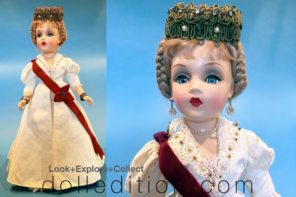 """Victoria"" composition 21"" 1946 Portrait Doll which is the same design as the 1936 ""Princess Flavia."" There was not a similar doll in the 1942 series. Photos are by Rodney Waller."