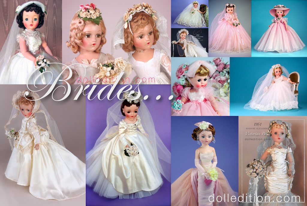 Brides and Bridesmaids have always been a staple of Madame Alexander dolls… the fashion, the drama and of course, the details make for a beautiful assembly of Brides from different decades.