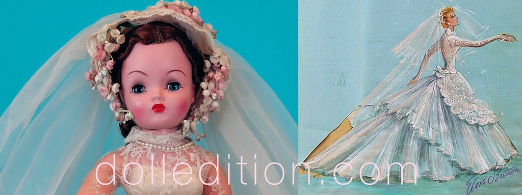 """Cissy"" 1956 (20"") Bride based on Lucile Ball Movie ""Forever Darling"" - Studio rendering of the wedding gown worn by Lucile Ball in the opening scene of the movie."