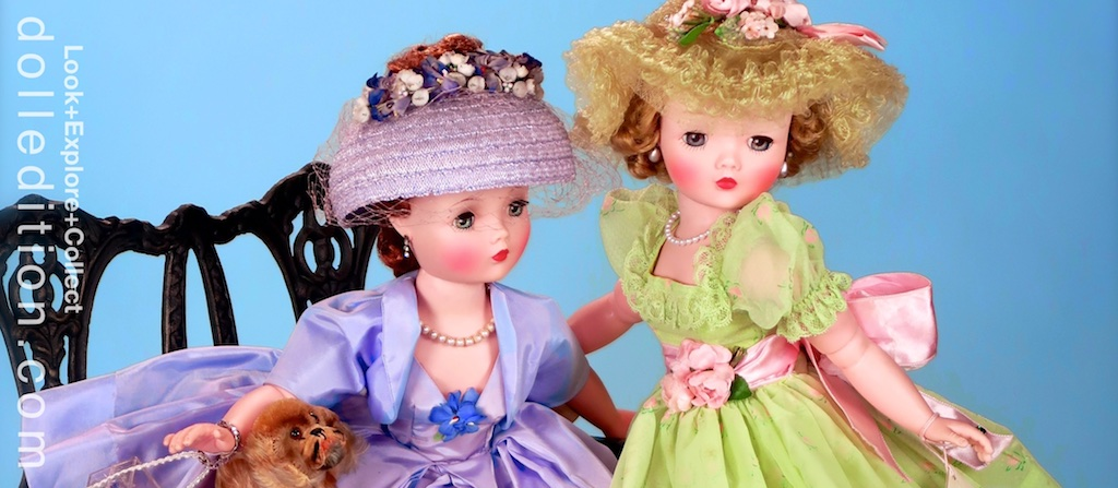 """LEFT: """"Cissy"""" wears a lilac woven straw hat with an open crown RIGHT: """"Cissy"""" wears a horsehair picture hat that matches her dress, with roses and ribbon accents"""