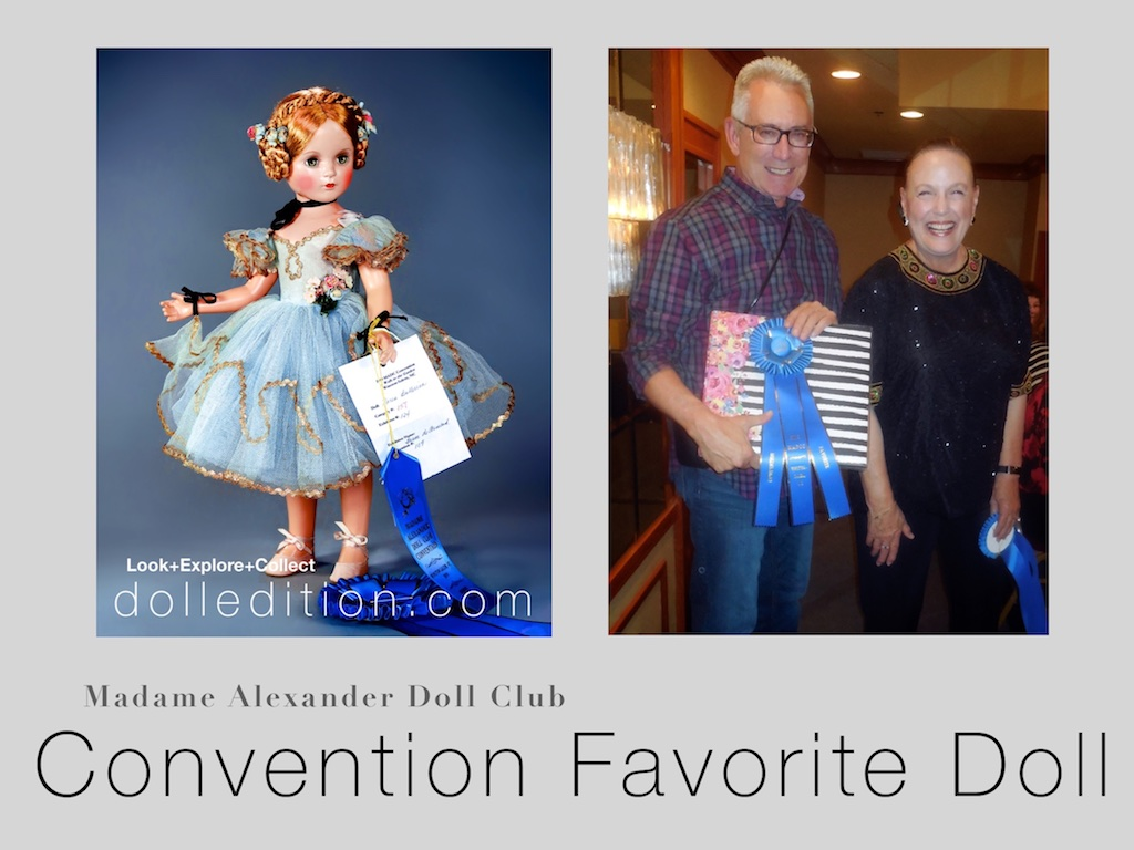 "Bruce deArmond with Marsha Hunter receiving the Madame Alexander Doll Club 2019 Convention ""Favorite Doll"" award for my blue 1946 21"" Composition ""Karen Ballerina."""