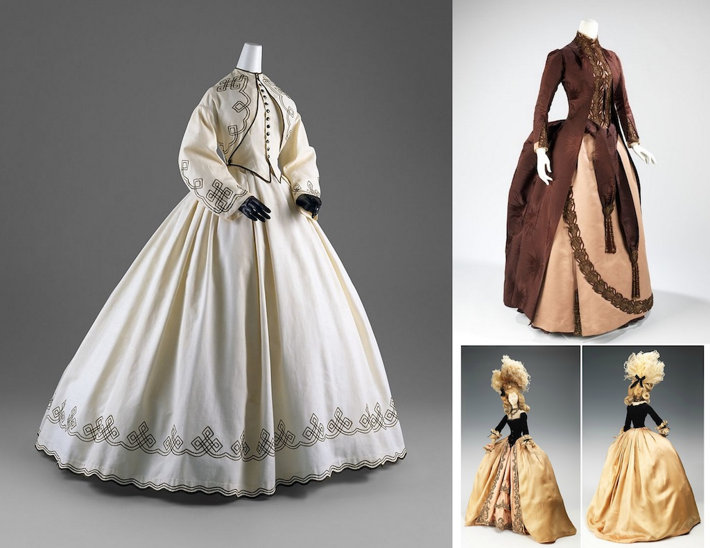 "All pieces from the collections of the Costume Institute at the Metropolitan Museum. Left clockwise: ""Summer Promenade"" is based on a promenade dress (American 1862-64), ""Belle Époque"" 1888 gown in brown silk, French Fashion ""1774"" by the French couturier Jean Dessès."