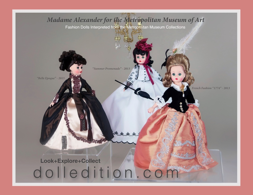 A trio of period fashion dolls created for the Metropolitan Museum by the  Alexander Doll Company.