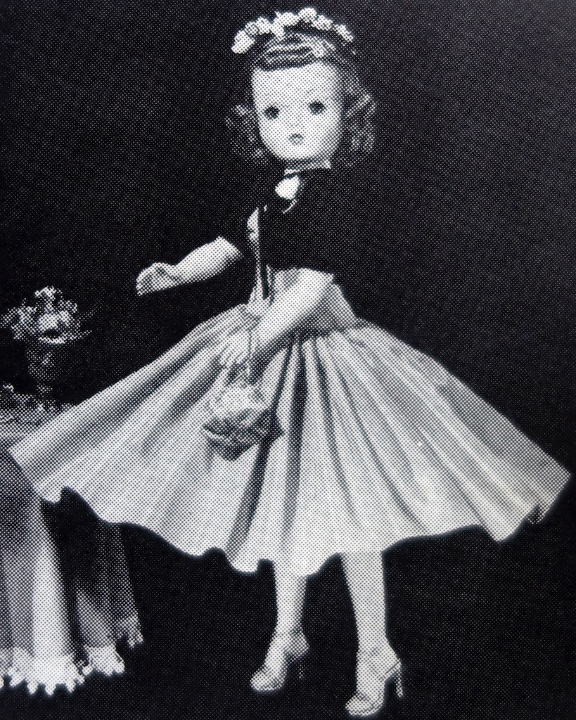 "The Cocktail Dress is Introduced to American Culture - 1956 Alexander Doll Company catalog photo for ""Cissy"" No. 2017. The description describes this as:"