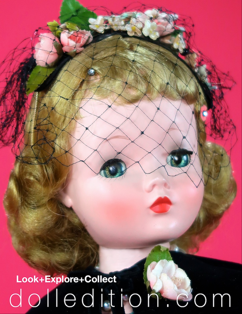 """""""Cissy"""" in her bandeau style cocktail hat the complements her cocktail dress. The cocktail hat was a new element of the full range of millinery that was an industry of its own - every outfit needed the correct hat. Coordinating each accessory would also follow with shoes. In turn, the closet industry grows in leaps and bounds to accommodate the expanding midcentury concept of fashion."""