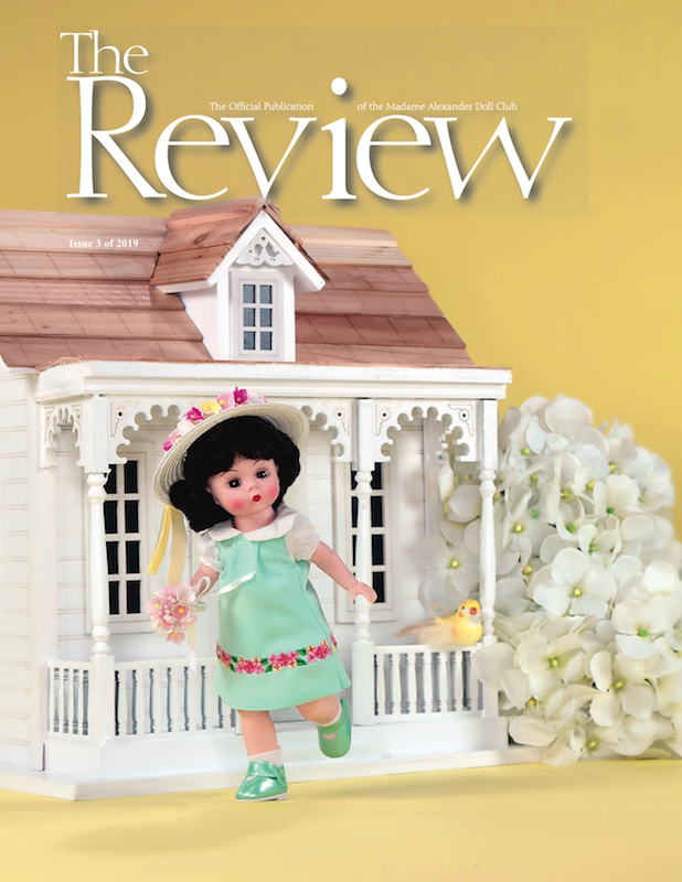 "Cover of the Madame Alexander Doll Club THE REVIEW - Issue 3, 2019 / ""Mary Jane"" 2019 Madame Alexander Doll Club Convention doll by the Madame Alexander Doll Company"