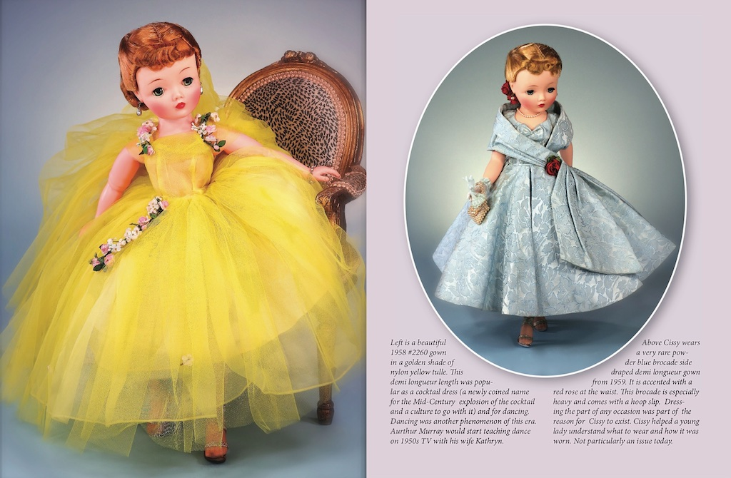 "Left: ""Cissy"" in No. 2260 (1959) golden yellow tulle demi longueur with cascading roses. Right: Stunning blue brocade No. 22-61 demi longueur — more often seen in red or dark green brocade."
