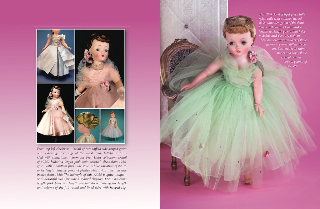 Right: A beautiful color variation — 1958 demi longueur length cloud of pale green tulle.