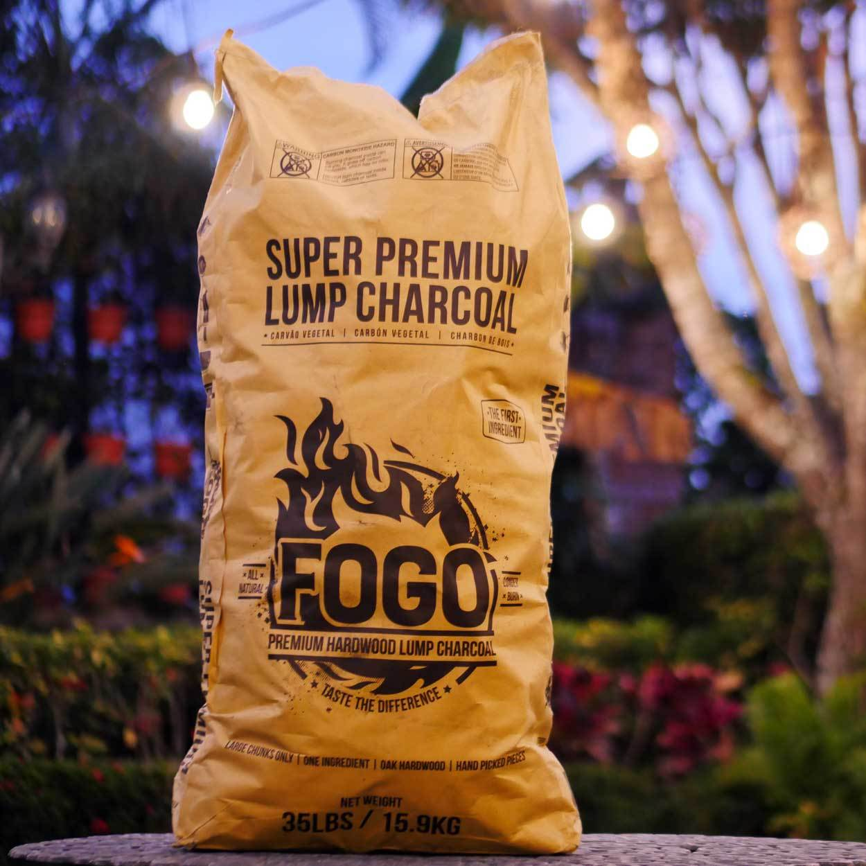 Tan Bag - 35 pounds - Large sized charcoal(80% > 4in pieces)Oaky Hardwood Smoked FlavorLights quickly, burns hotter and longerRestaurant QualityThe large sizes will ensure a very long and slow burn in your Kamado style cooker (Goldens' Cast Iron Cooker, Big Green Egg, Primo, Kamado Joe) 49.95