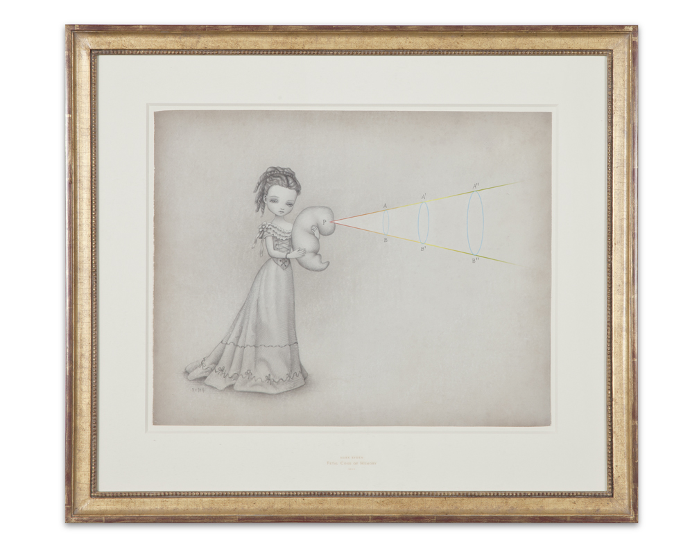 "Mark Ryden, "" Fetal Cone of Memory ,"" 2012, graphite and watercolor on paper, 25 x 28 1/2 inches"