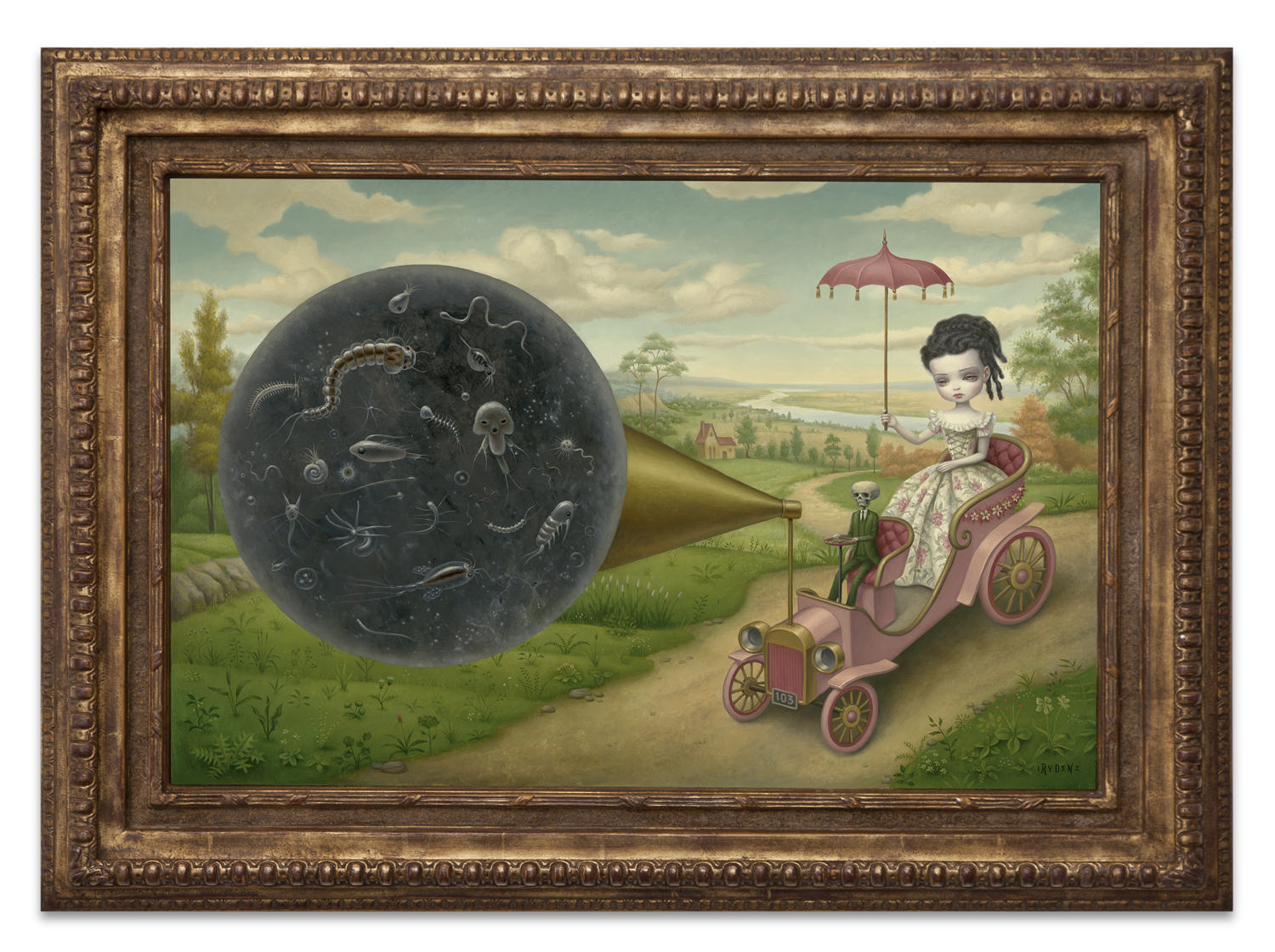 "Mark Ryden, ""The Cone of Memory,"" 2012, oil on canvas with vintage frame, 37 1/2 x 30 1/5 inches"
