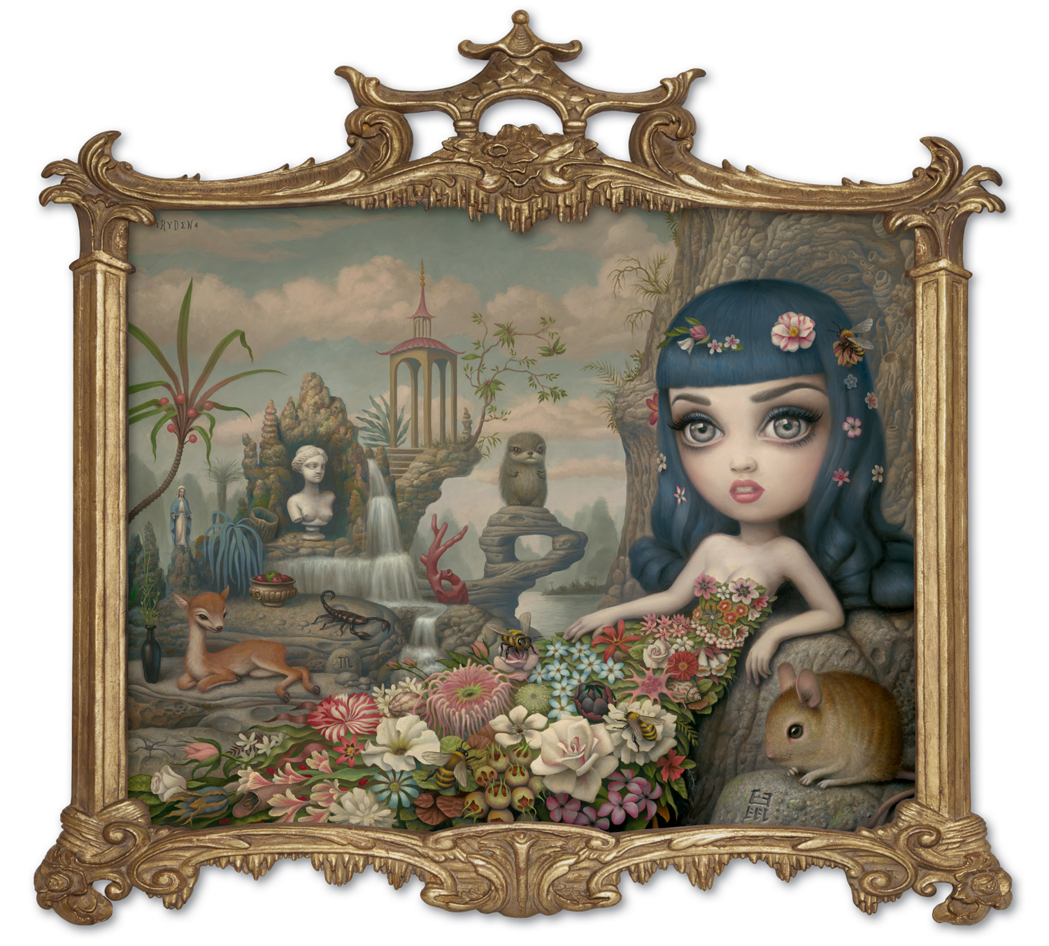 "Mark Ryden, ""Katy Aphrodite,"" 2014, oil on canvas with artist designed frame, 34 x 36 inches"