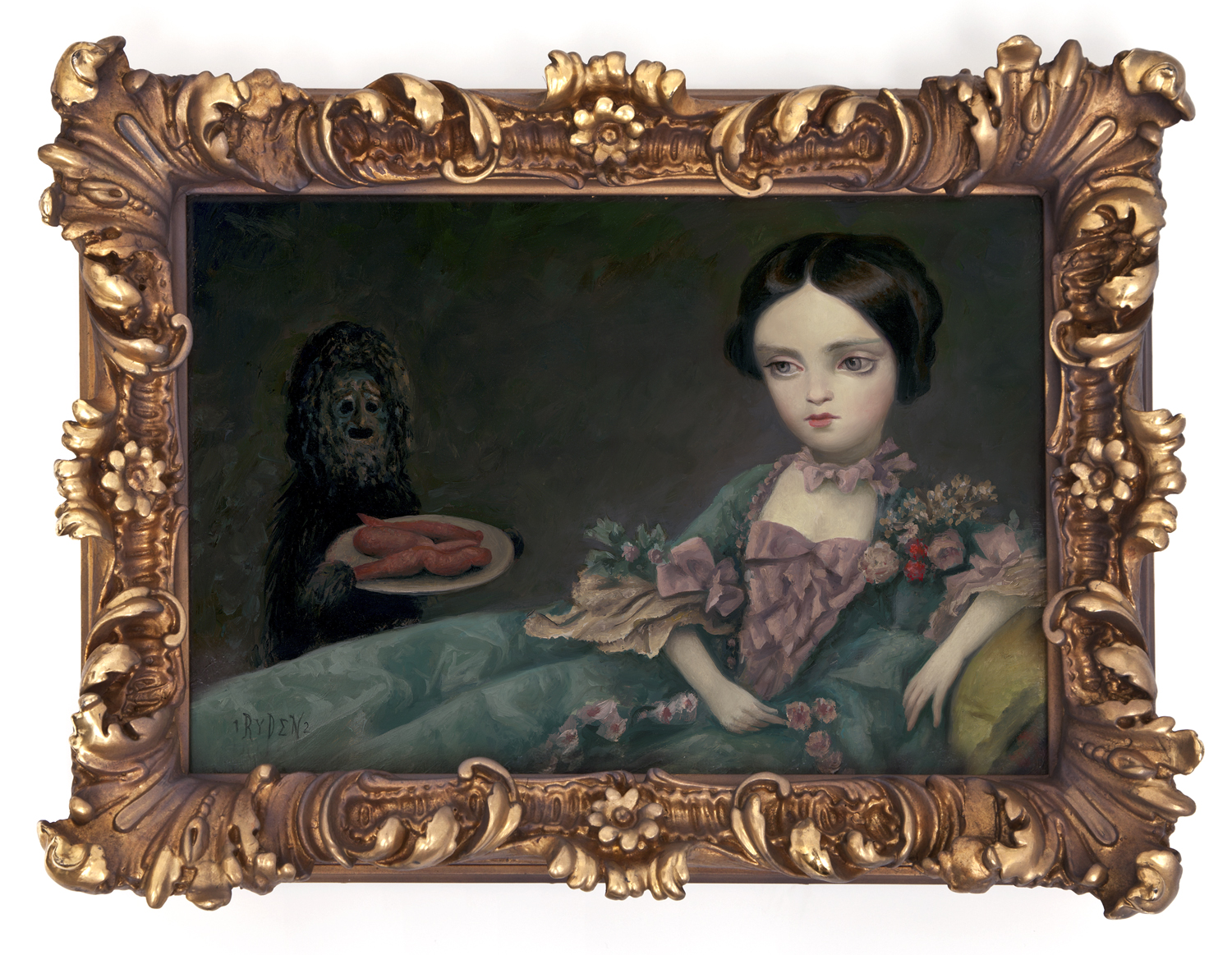 "Mark Ryden, ""Medium Yams,"" 2012, oil on panel with vintage frame, 12 x 16 inches"