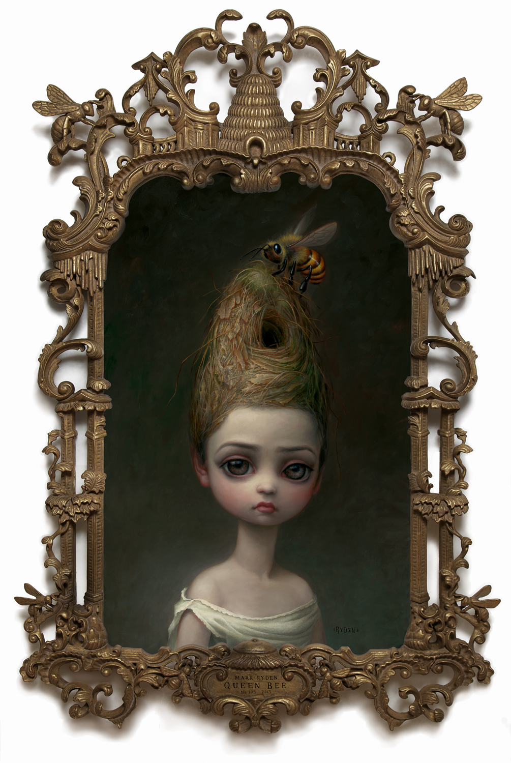 "Mark Ryden, ""Queen Bee,"" 2013, oil on canvas with artist designed frame, 45 x 28 inches"