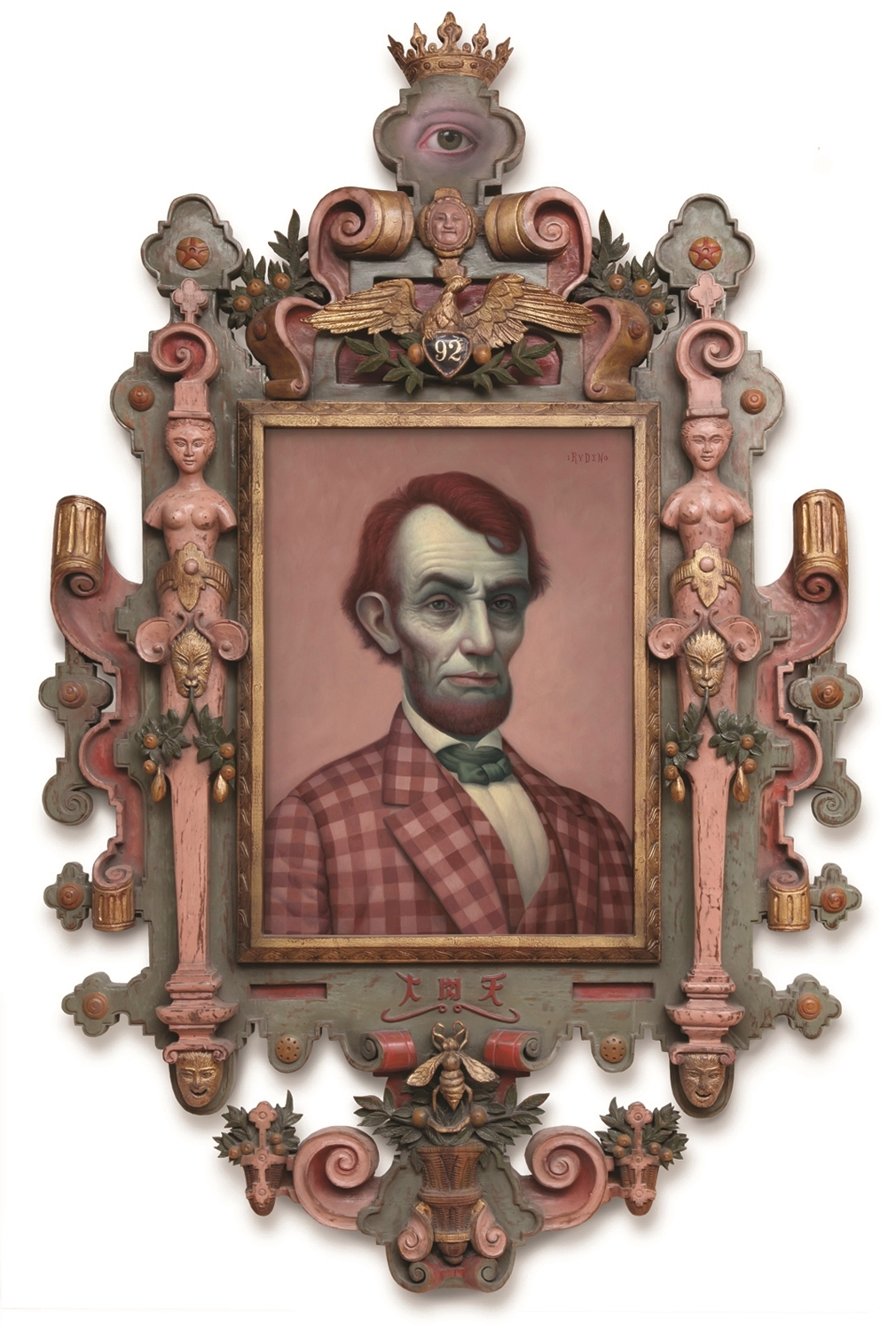 "Mark Ryden, ""Pink Lincoln,"" 2010, oil on canvas with artist designed frame, 55 x 34 inches"