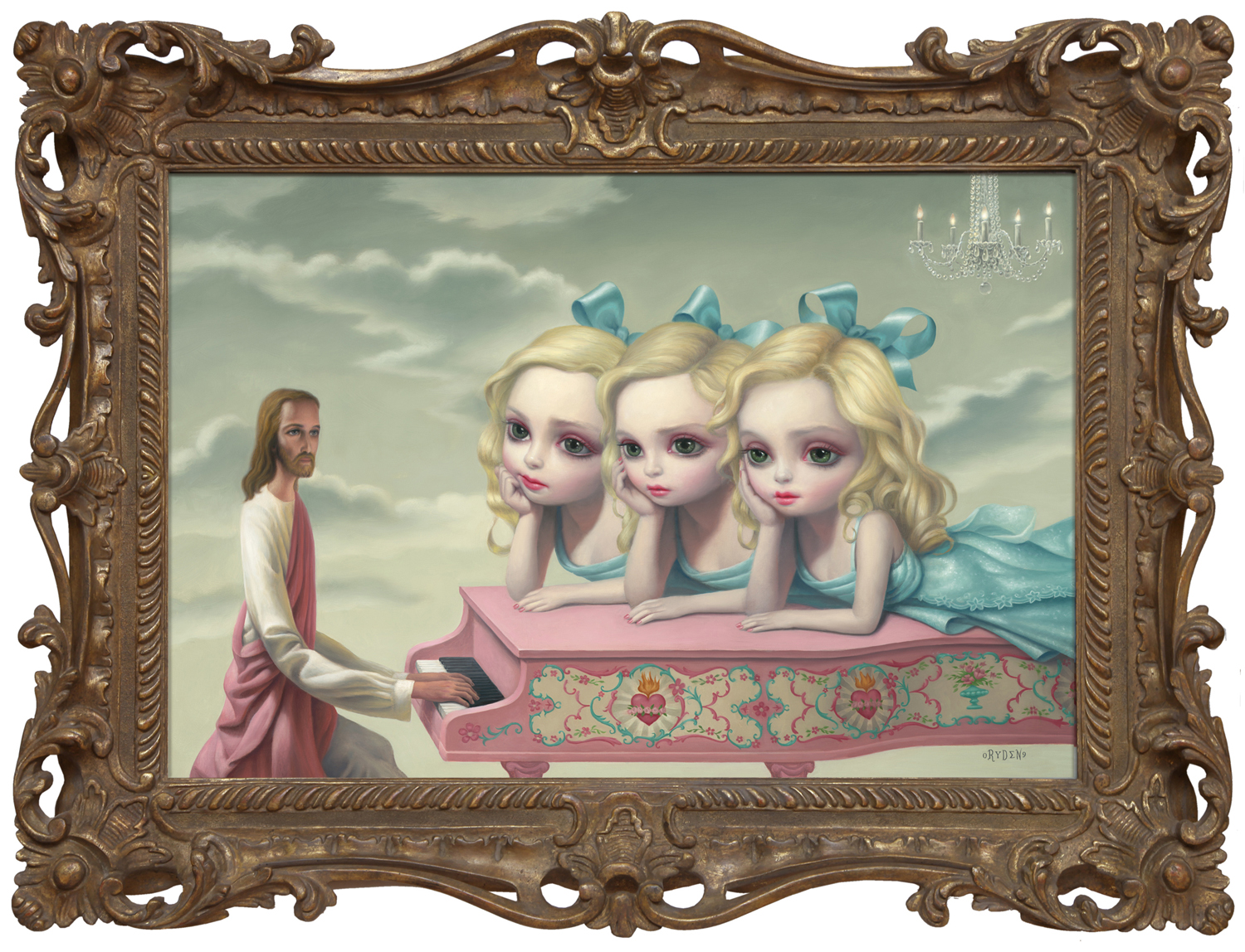 "Mark Ryden, ""The Piano Man,"" 2006, oil on canvas with artist designed frame, 29 x 39 inches"