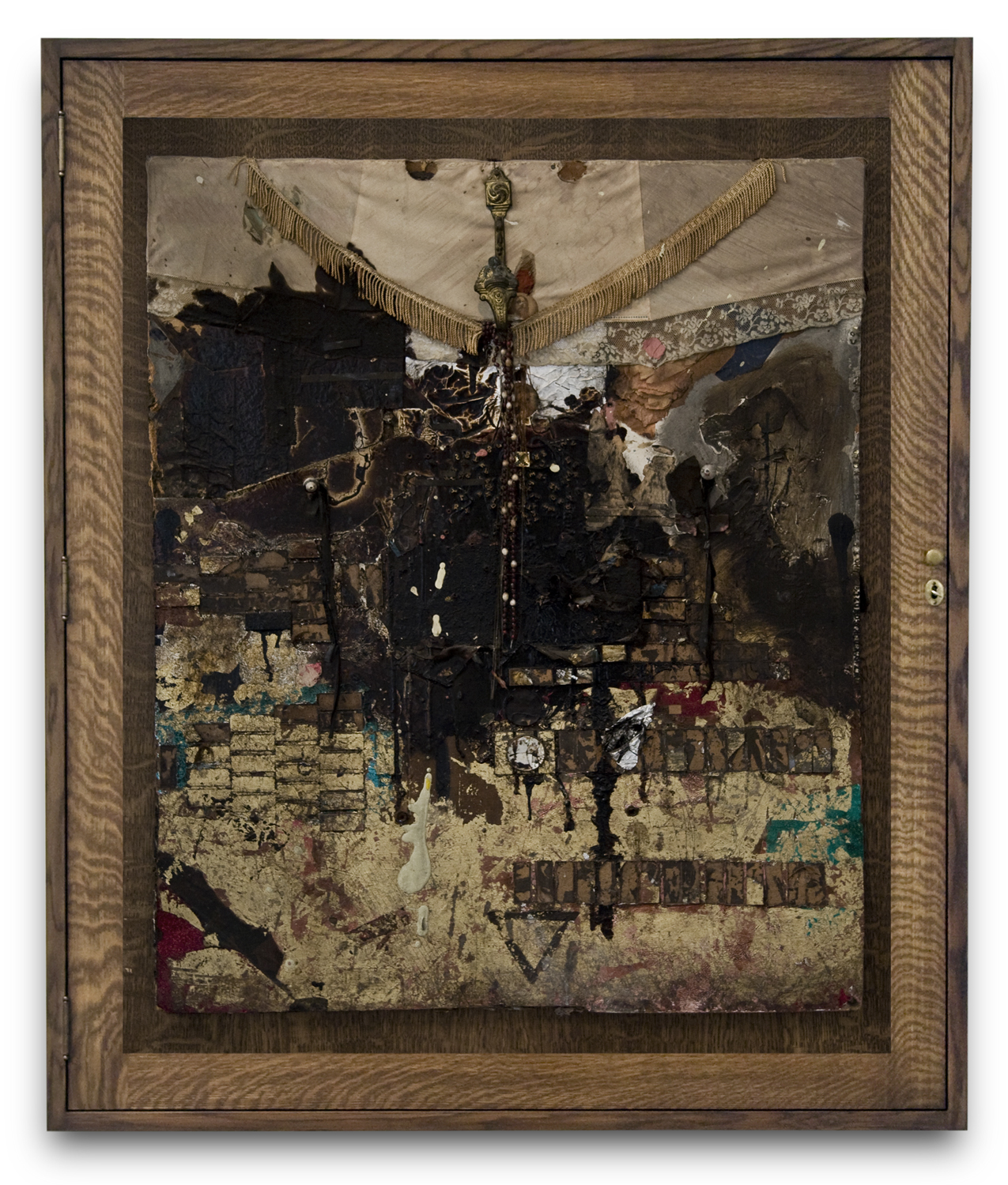 Bruce Conner, GOOD FRIDAY, 1962, mixed media assemblage in wooden box frame designed by Bruce Conner, 55 x 10 x 46 inches
