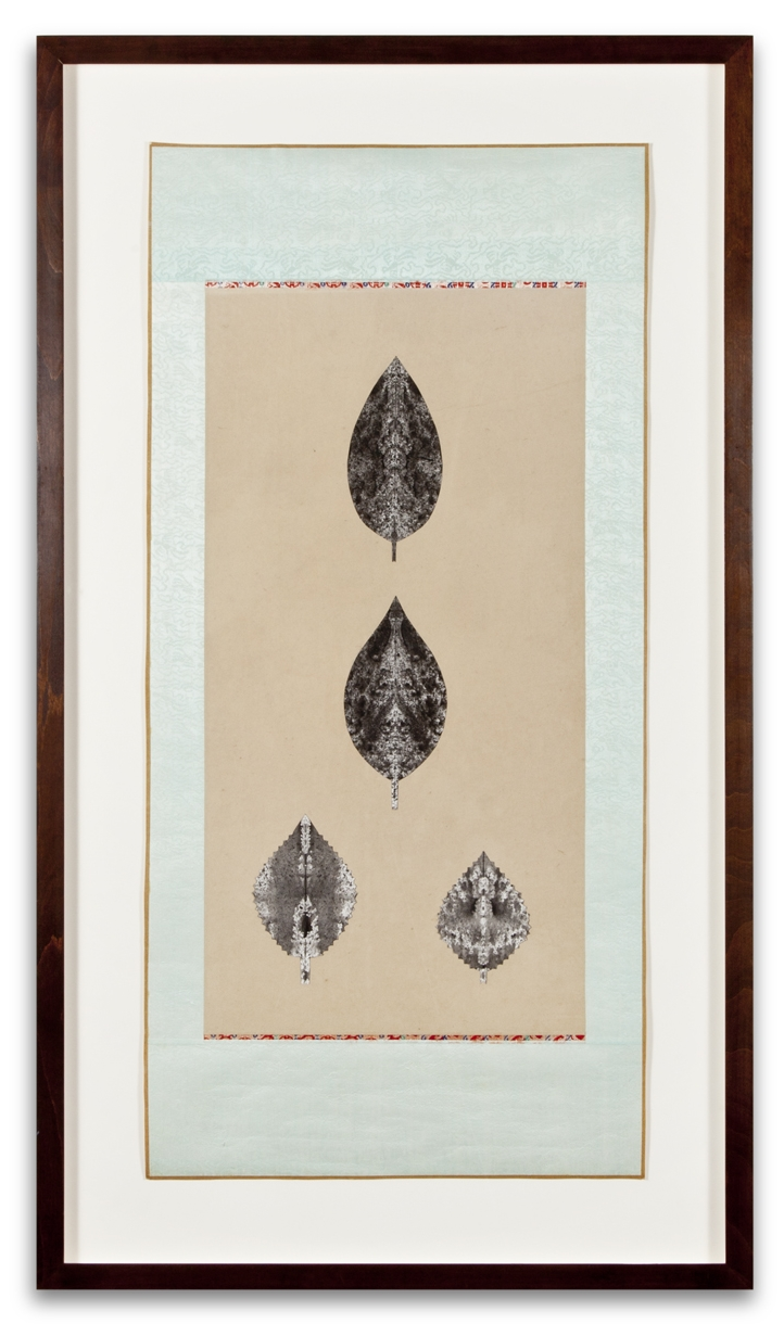 Anonymous, LEAVES, 2001, ink on paper on paper scroll, 44 x 25 inches