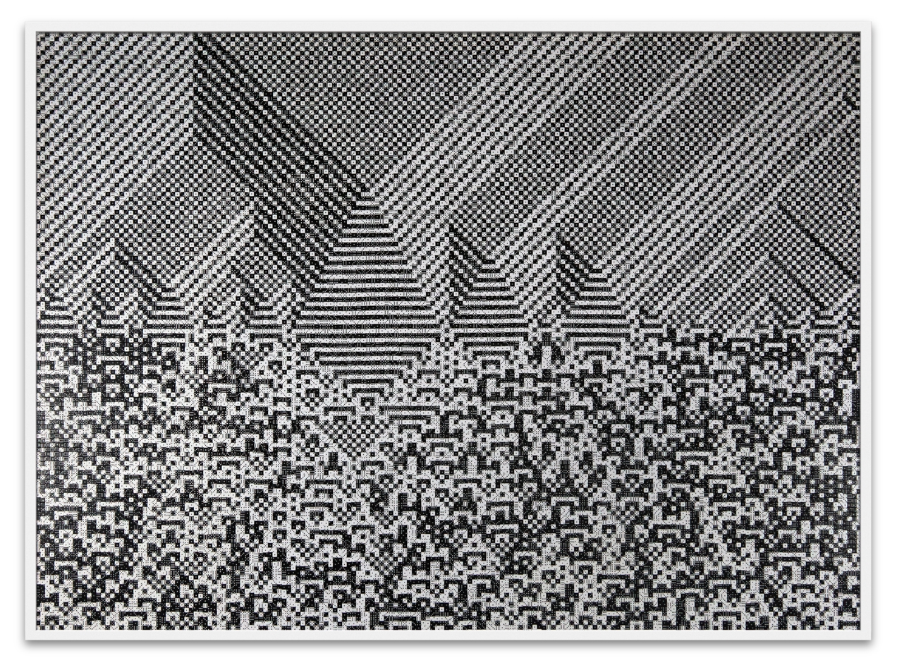 "Troika, ""Calculating the Universe,"" 2014, 23,940 black & white dice, 53 1/8 x 71 5/8 x 1 7/8 inches"