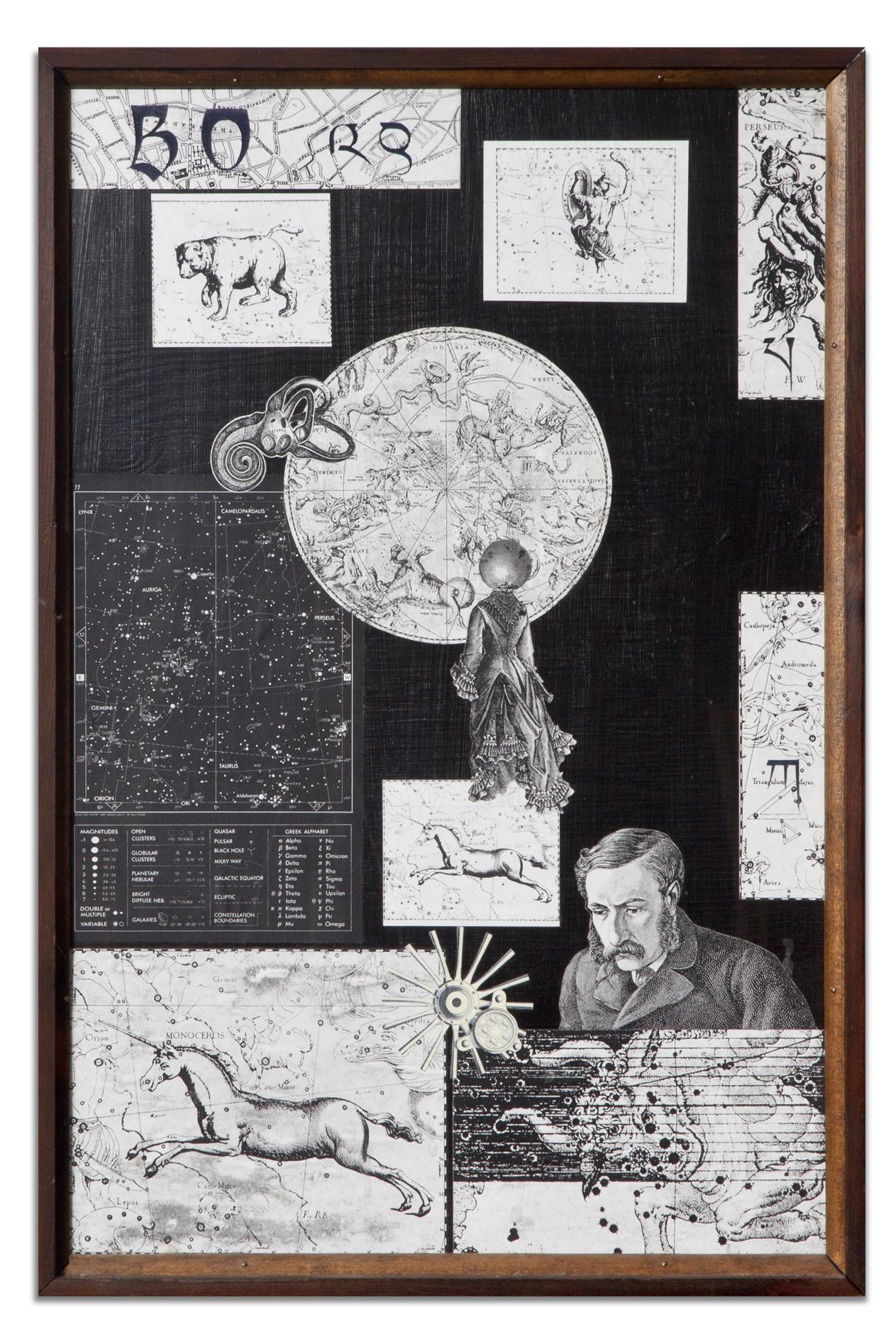 Lawrence Jordan, BULLETIN BOARD #2: LEGENDS OF THE STARS, 2000, collage black BG, 24 x 16 inches
