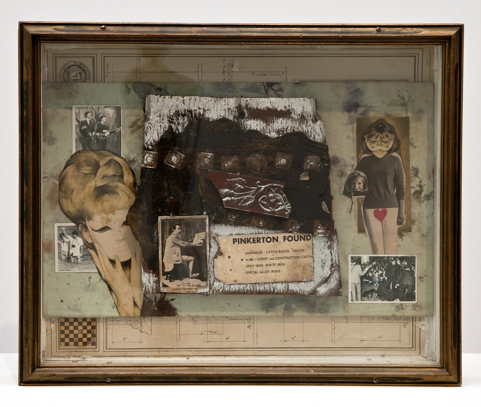 Lawrence Jordan, PINKERTON FOUND, 1966, collage, 17 3/4 x 21 3/4 x 4 1/2 inches