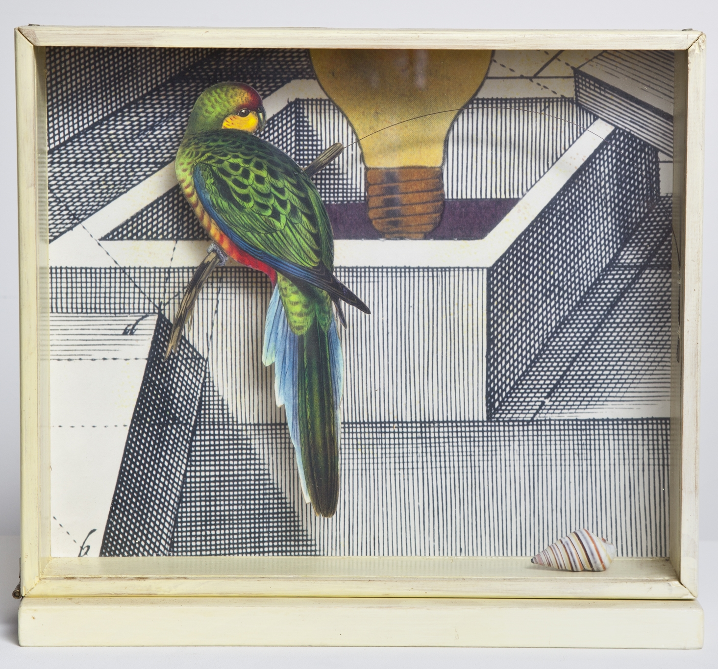 Lawrence Jordan, HYPEROIN BOX 1, 1994, collage, 11 1/2 x 12 1/2 x 3 1/2 inches