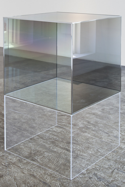 Larry Bell,  Series II Cube , 1995, coated glass and chrome