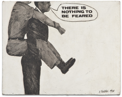 Llyn Foulkes,  Untitled (There is nothing to be feared) , 1964, oil and graphite on canvas