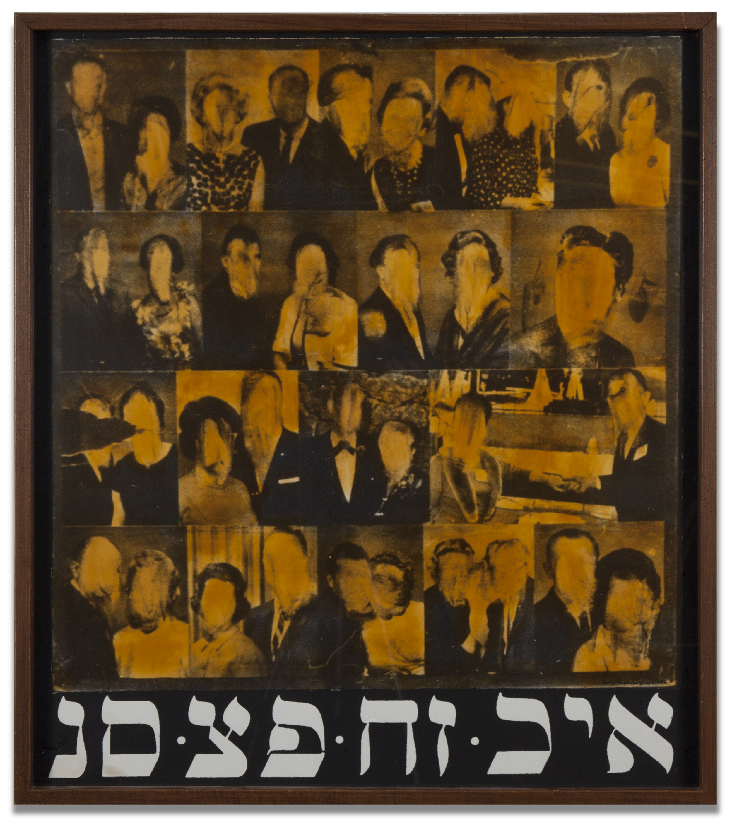 "Wallace Berman, ""Untitled (Faceless Faces with Kabbalah),"" c. 1963-70, paint on photograph mounted on board with hand applied varnish, 34 x 30 inches"