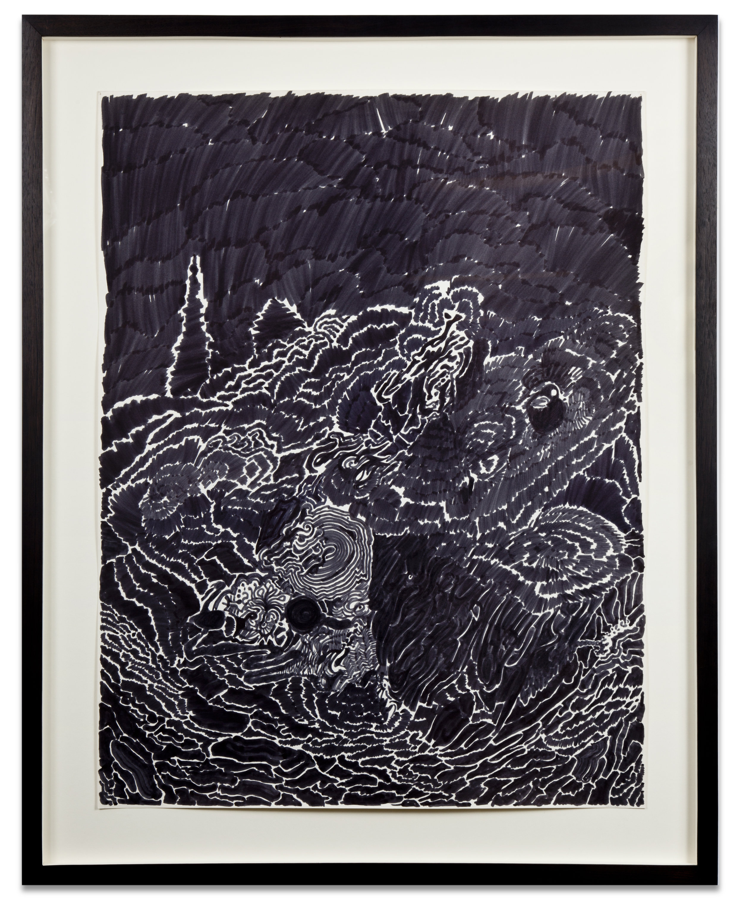 NEON NIGHT WICHITA, KANSAS, 1963, ink on paper, 26 1/8 x 20 inches