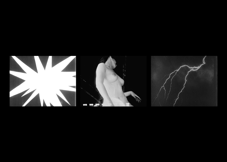THREE SCREEN RAY,  2006, three-channel video installation, black & white, sound,5:23
