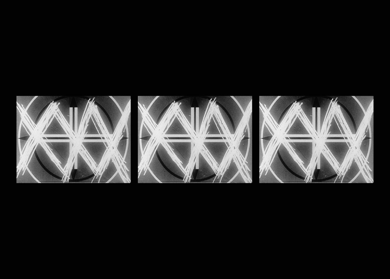 THREE SCREEN RAY,  2006, three-channel video installation, black & white, sound, 5:23