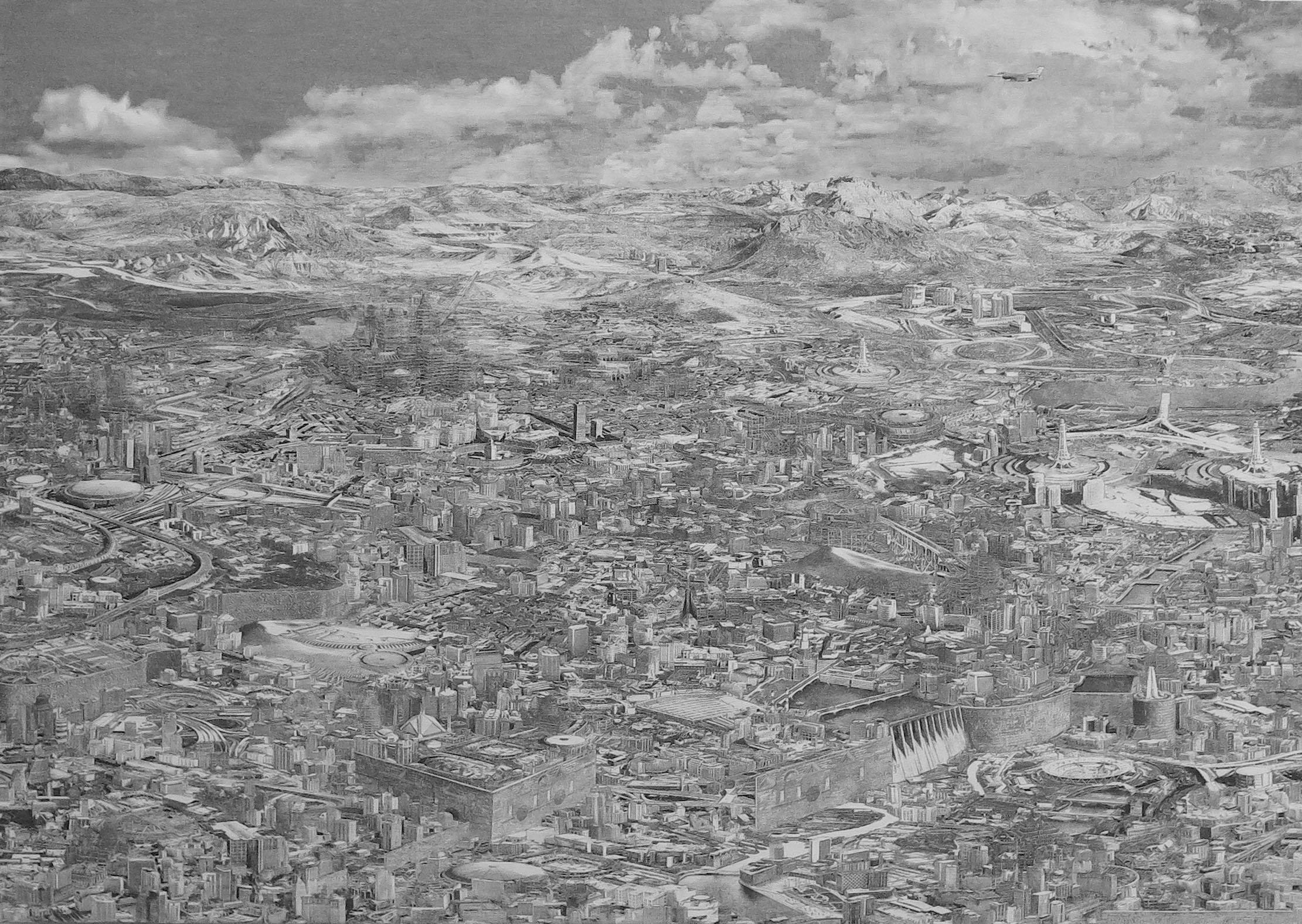 """Minarets,"" 2017, oil on linen, 21 1/2 x 30 1/2 inches"