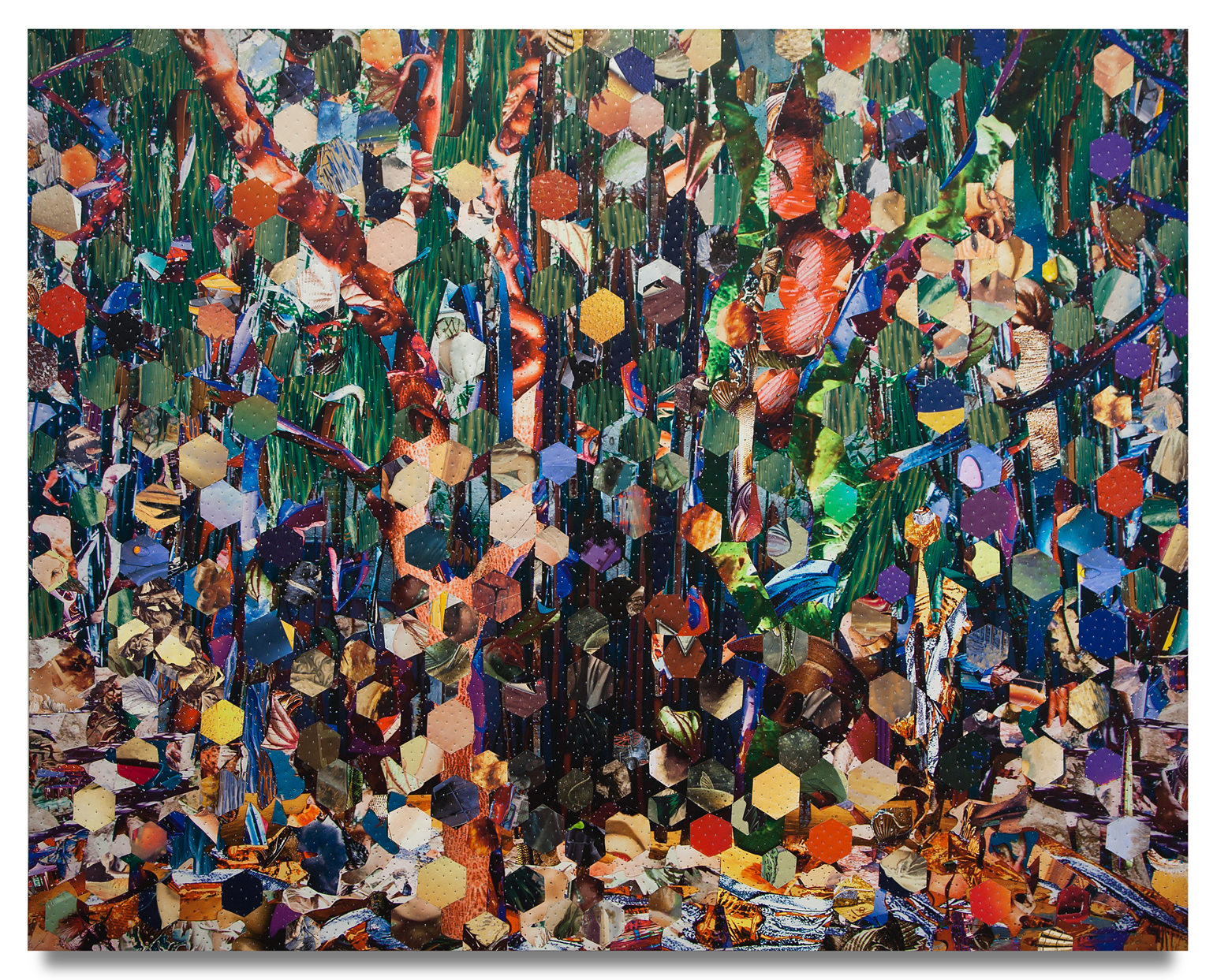 """Tony Berlant, """"Hat in the Ring,"""" 2018, found and fabricated printed tin collaged on plywood with steel brads, 57 x 72 inches"""