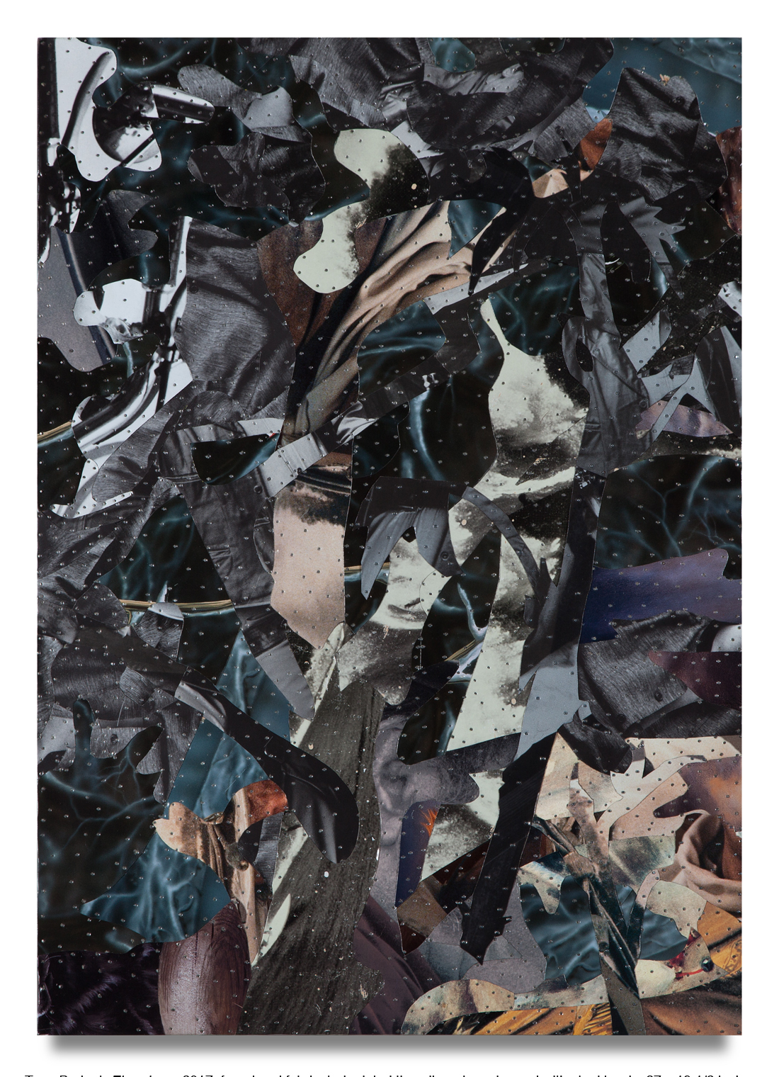 """Tony Berlant, """"Elsewhere,"""" 2017, found and fabricated printed tin collaged on plywood with steel brads, 27 x 19 1/2 inches"""