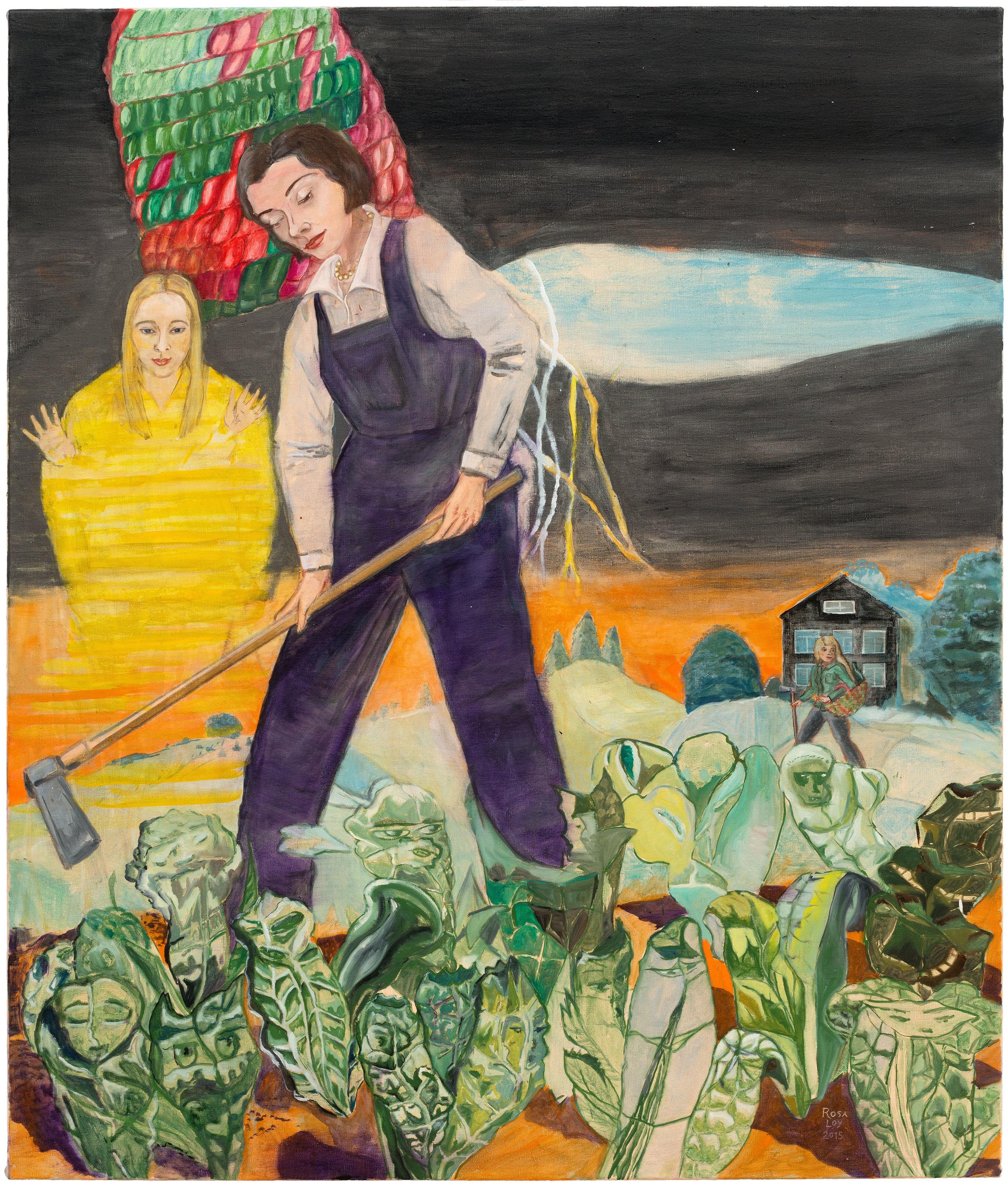 """""""Bienenweide,"""" 2015, casein on canvas, 51 1/8 x 43 1/4 inches"""