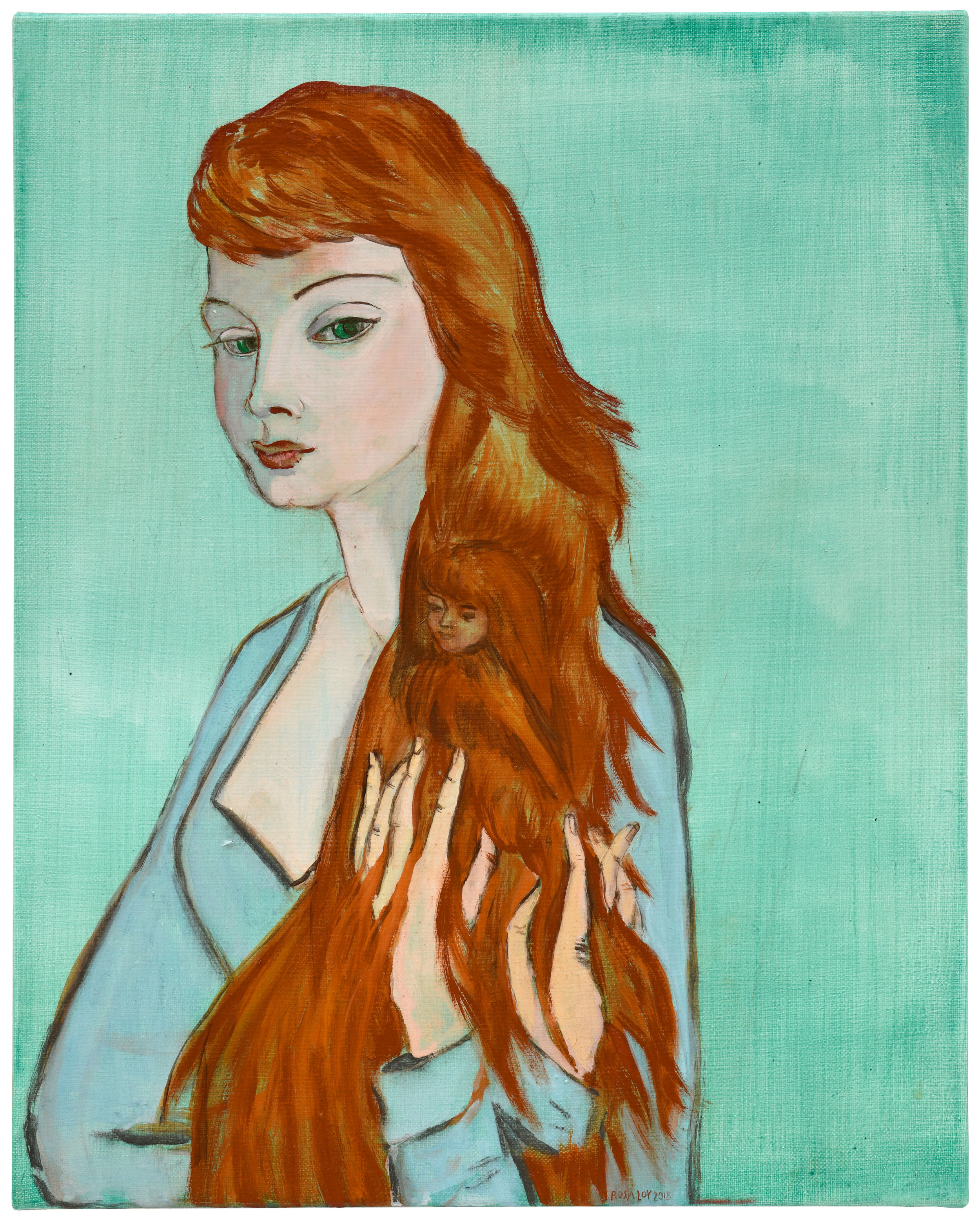 """""""Haarversteck,"""" 2018, casein on canvas, 19 3/4 x 15 3/4 inches"""