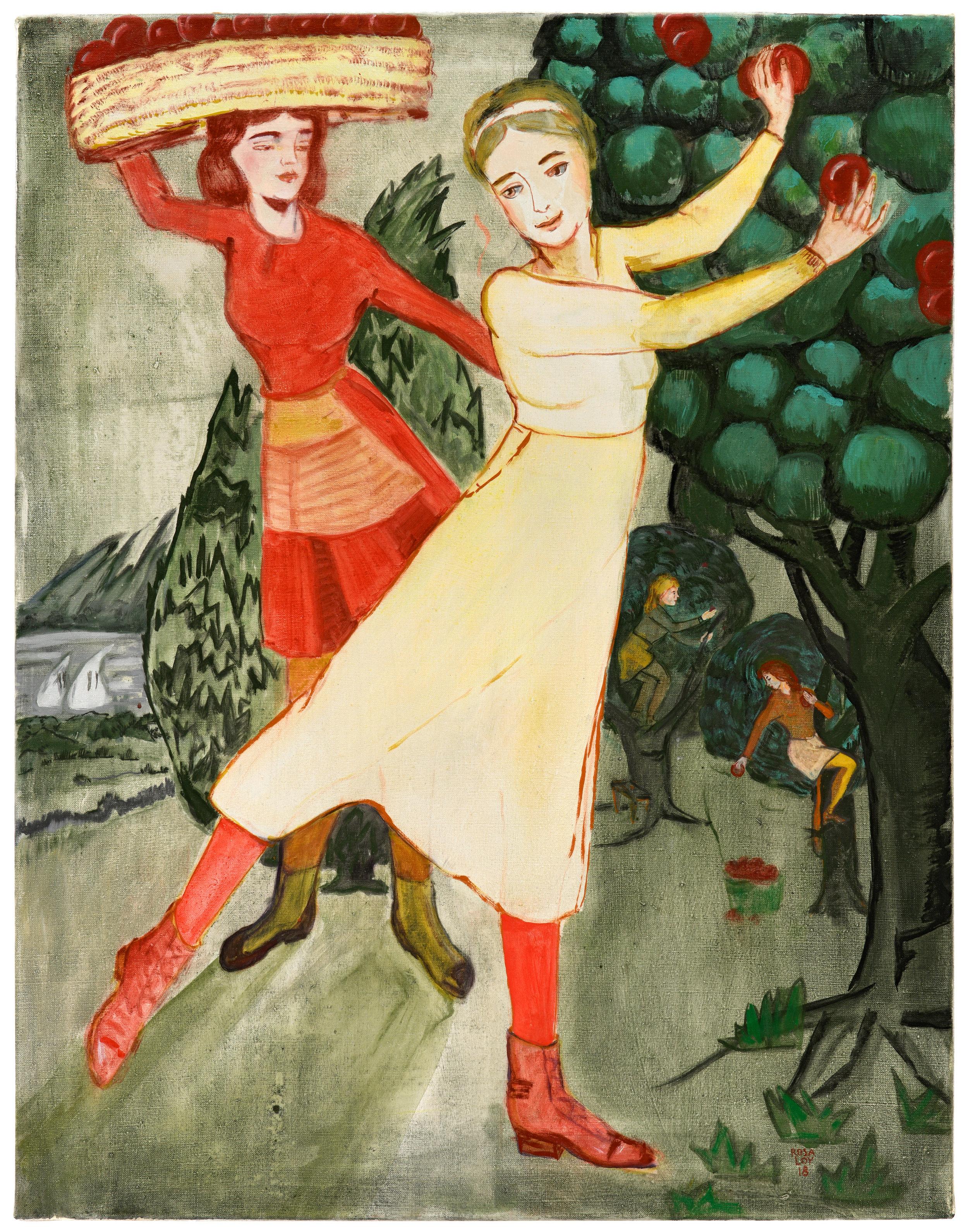 """""""Beeren Auf Dem Kopf,"""" 2018, casein on canvas, 35 3/8 x 29 1/2 inches"""