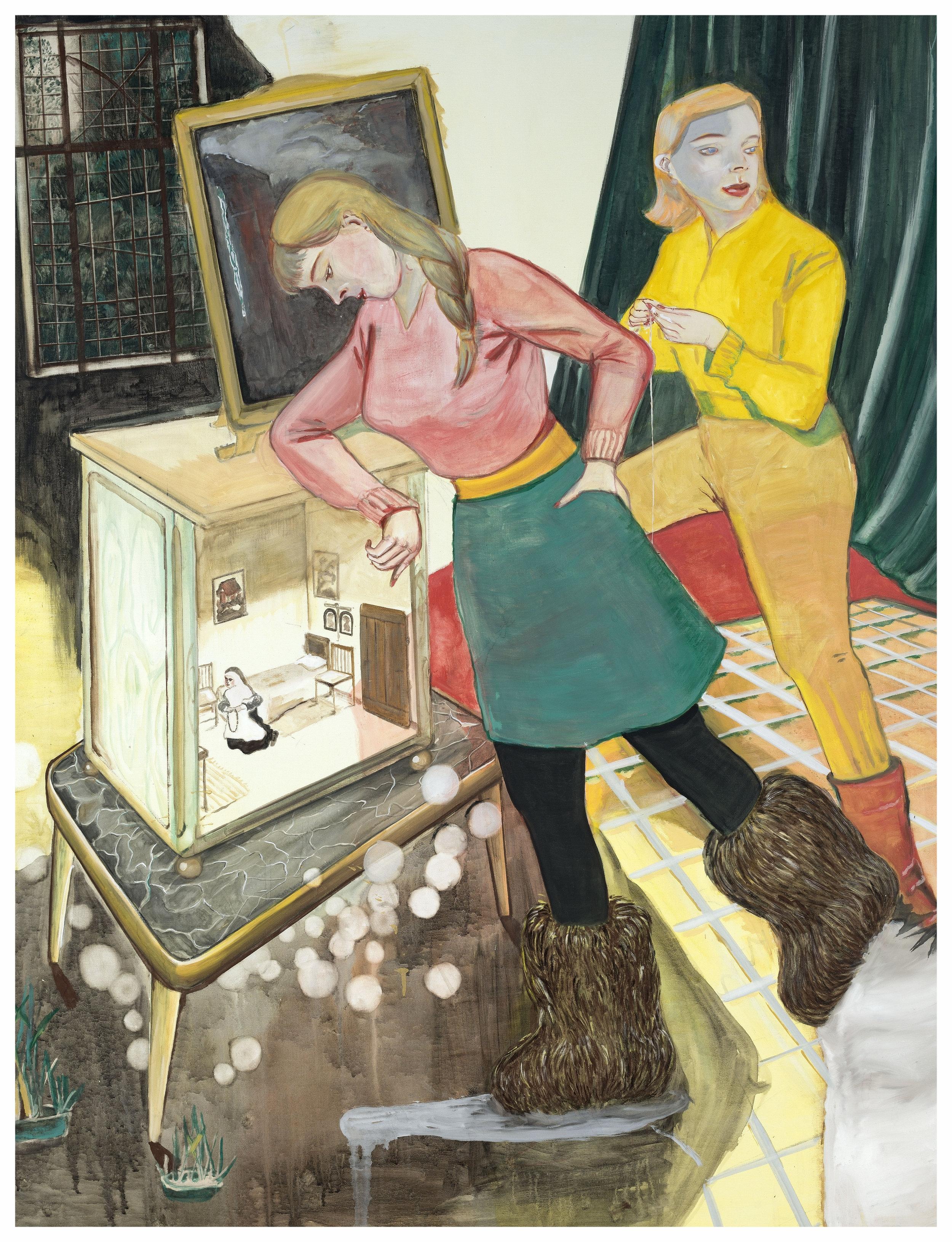 """""""Nonnenstübchen,"""" 2014, casein on canvas, 66 7/8 x 51 1/8 inches"""