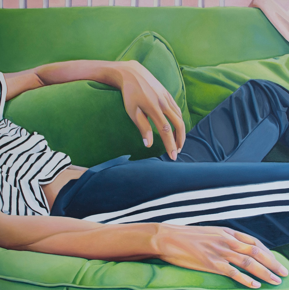 "Jarvis Boyland, ""Study of a figure in recline,"" 2017, oil on canvas, 20 x 20 inches"