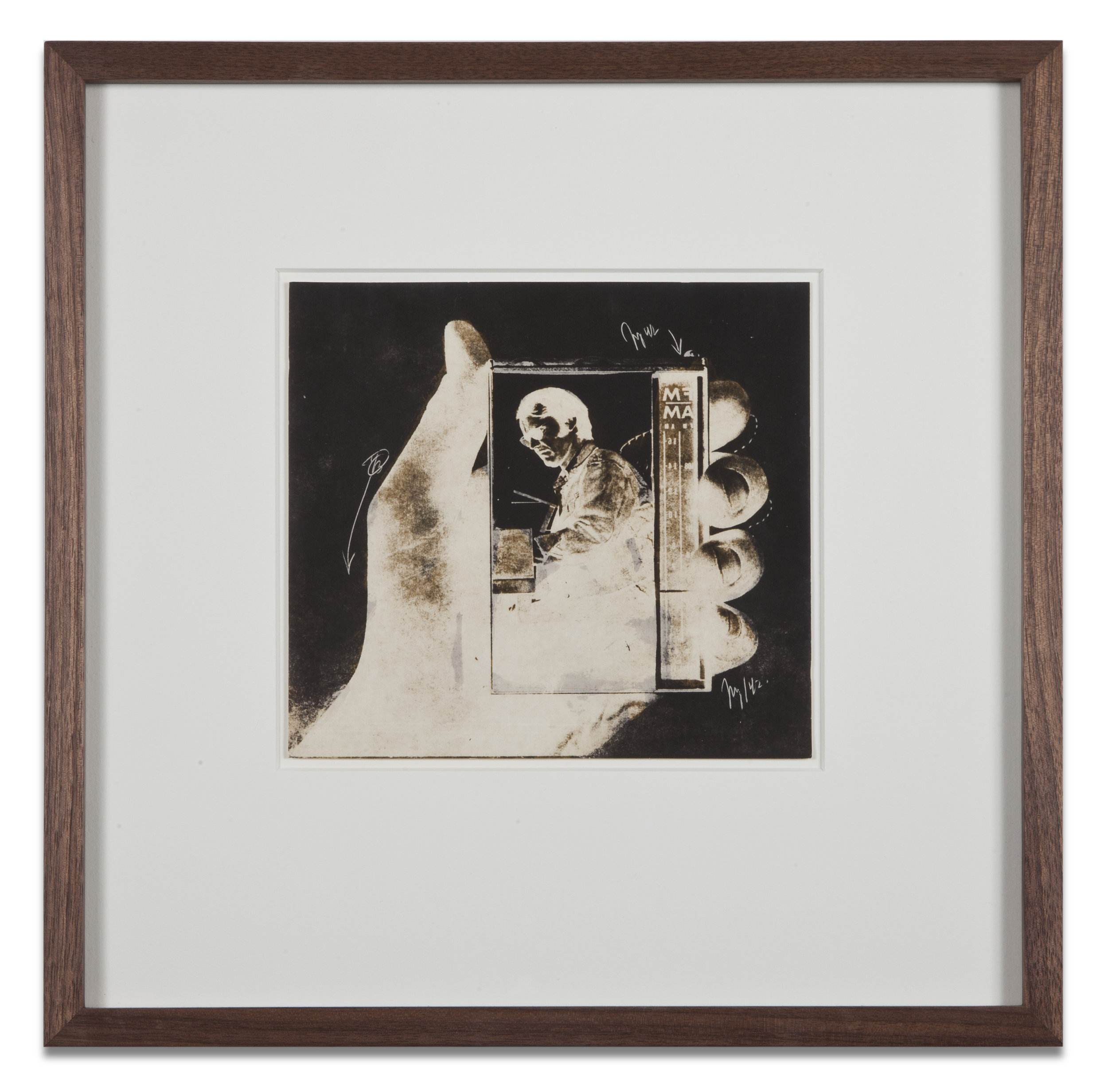 "Copy of ""Untitled #36"" , c. 1964-76, Verifax collage, 6 x 6 1/2 inches, framed 12 x 12 1/2 inches"