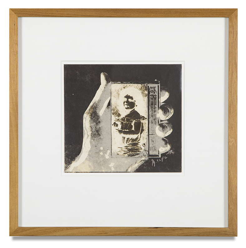 "Copy of ""Untitled #70"" , c. 1964-76, Verifax collage, 6 x 6 1/2 inches, framed 12 x 12 1/2 inches"